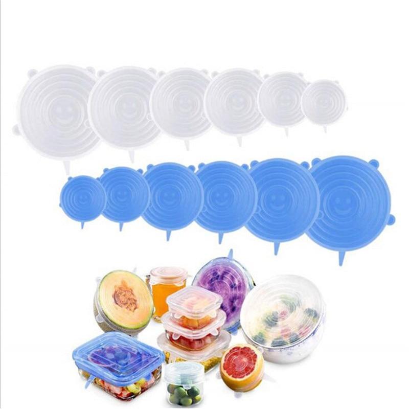 Аксессуары, многоразовые силиконовые эластичные крышки, 6 шт., кухонные приспособления, универсальная крышка для кухни, силиконовая крышка ...
