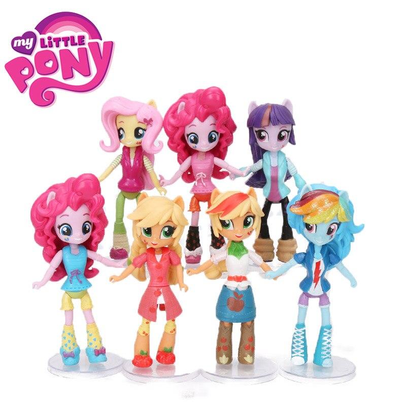 12cm Set Of 7 My Little Pony Toys Friendship Is Magic Pony Figure Set Pinkie Pie Rarity Sunset Shimmer Fluttershy Model Doll Toy