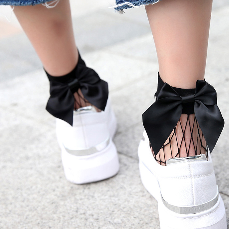 Women Ruffle Casual Thin Solid Fishnet Socks Ankle High Socks Mesh Lace Fish Net Short Socks 2019 New