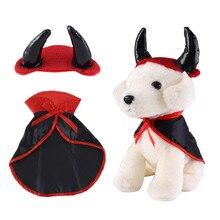 Halloween Pet Costumes Cute Cosplay Vampire Cloak Cape Dog Cap with Horns