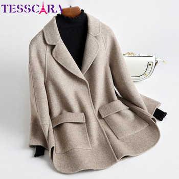 TESSCARA Women Autumn & Winter Soft Cashmere Basic Jacket Coat Female Wool Blend Overcoat Office Cloak Jackets Outerwear & Coats - DISCOUNT ITEM  20% OFF All Category