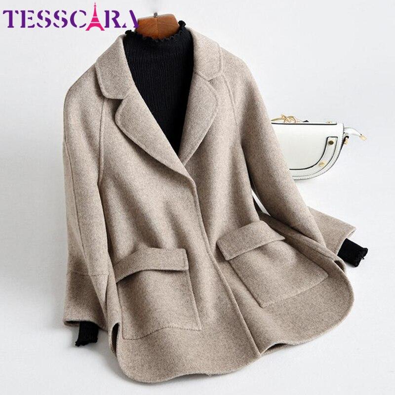 TESSCARA kobiety jesień i zima miękki kaszmir podstawowe kurtki płaszcz kobieta wełna mieszanka płaszcz urząd płaszcz kurtki odzież wierzchnia i płaszcze w Wełna i mieszanki od Odzież damska na  Grupa 1