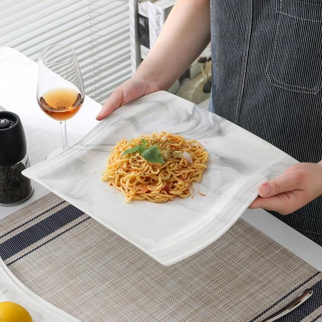 MALACASA FLORA 26-Piece Nordic European Style Marble Porcelain Dinnerware Set with Bowl,Dinner Plate,Dessert&Soup Plate Set Gift 3