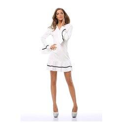Новинка, женское платье с v-образным вырезом, мини, в полоску, осень 2020, платья с рукавами, белое платье, свободные повседневные женские плать...