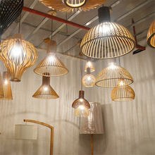 Modern LED Wood Birdcage Pendant Lights Loft Decor Pendant Lamps Weaving Wooden Pendant Lamp Restaurant Luminaria hanging lights