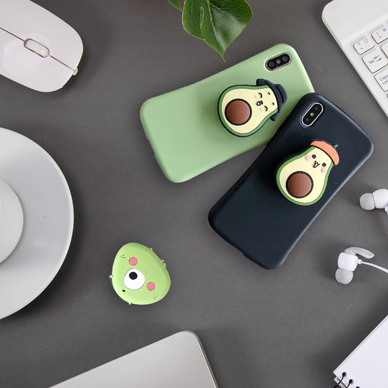 Cartoon Avocado Creative Mobile Phone Ring Folding Telescopic Bracket Paste Soft Plastic Drop Mobile Phone Universal Bracket