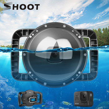 SHOOT 6'' Diving Dome Port for GoPro Hero 8 Black Waterproof Lens Cover Housing Case Dual Handle Trigger for Go Pro 8 Accessory shoot 6 dual handheld dome port waterproof diving housing case cover with trigger for dji osmo action camera lens accessories