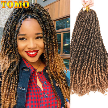 TOMO Bomb Twist Crochet Hair Synthetic 16Roots Spring Twist Pre Looped Crochet Braids Hair Extension Passion Twist for Women 3