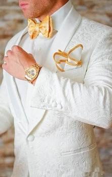 New Classic Design White Paisley Groom Tuxedos Groomsmen Shawl Lapel Best Man Suit Wedding Men's Blazer Suits (Jacket+Pants man suits 2 pieces formal slim jacket shawl lapel suit tuxedos groom coat fashion suits for wedding dinner dress jacket pants