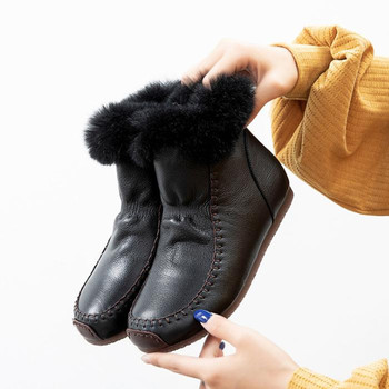 Winter women boots flat warm snow leather casual short high top cotton shoes Black ankle ladie boty - discount item  32% OFF Women's Shoes