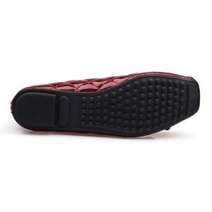 Image 4 - Yeni varış Patent deri düz kadın bale daireler ayakkabı kadın artı boyutu 41 siyah kare ayak papyon konfor ayakkabı siyah bayan için