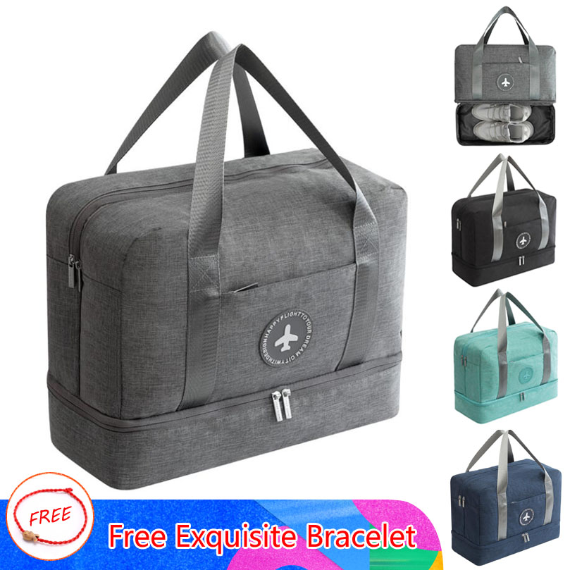 New Cationic Fabric Waterproof Travel Bag Large Capacity Double Layer Storage Bag Portable Duffle Bags Packing Cube Weekend Bags(China)