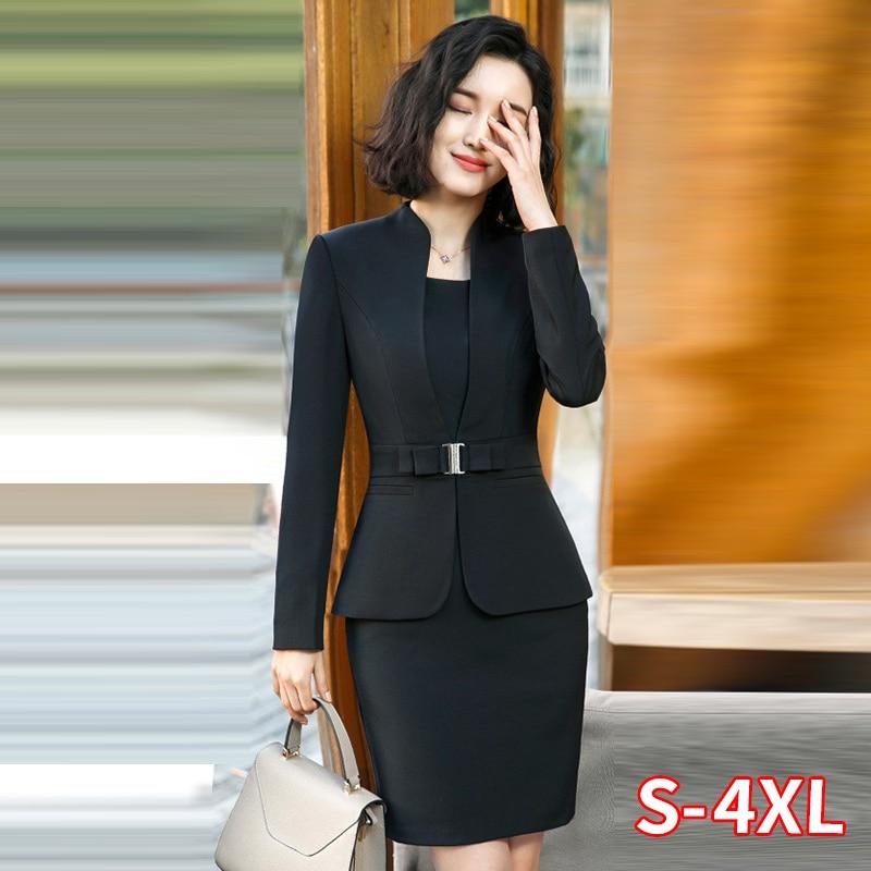 Formal Office Pant Suit For Womens Blazers Pant Set Long Sleeve Uniform Elegant Feminino Business Formal Work Suit Plus Size 4XL