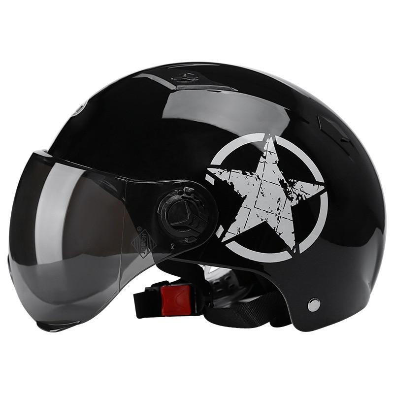Motorcycle Helmets Half Helmet Scooter Motor Crash Helmet Bye Helmets for Moto Bike Sunshade Sun Protection Summer Unisex Abs 4