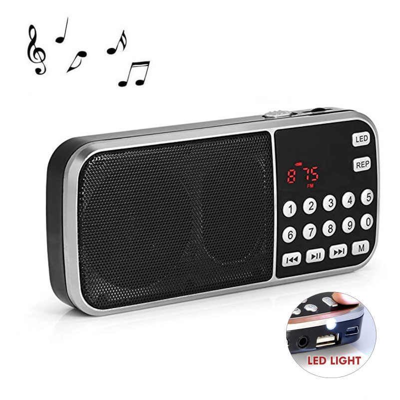 Draagbare Mini Stereo Speaker Ondersteuning Zaklamp Tf Kaart Usb Aux Fm Radio Speaker Music Player Sound Box