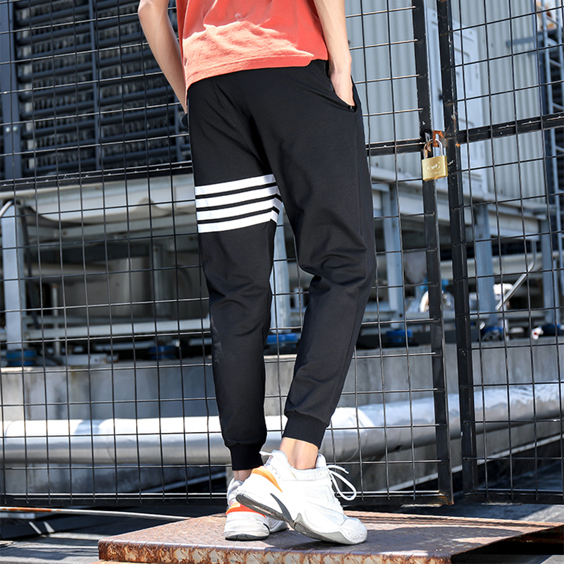 New 2019 Fashion Mens Striped Pants Casual Slim Cotton Trousers Hip Hop Sweatpant Mens Joggers Pants Black Elastic Waist M 4XL in Skinny Pants from Men 39 s Clothing