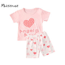 Multitrust été T-Shirt + pantalon court 2020 bébé garçons filles coton vêtements ensembles vêtements ensemble tenues Bebes costumes 6M-3Y(China)