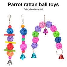Rattan pássaro brinquedo pendurado gaiola papagaio brinquedos contas sino corda mão tecido anel de brinquedo para papagaio lovebird aves gaiola de pássaro acessórios