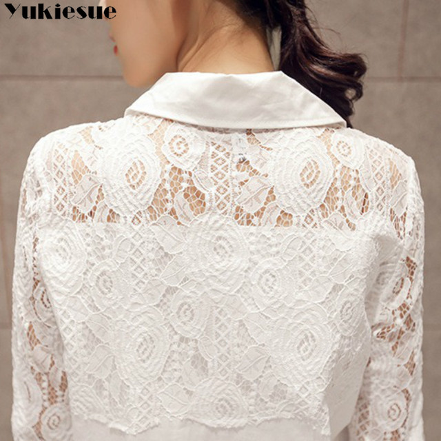 Casual Loose Women Shirts 2020 Spring New Fashion Plus Size Blouse Long Sleeve lace Buttons White Shirt Women Tops Streetwear 6