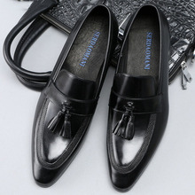 New 2019 Fashion Genuine Leather High Quality Pointed Toe Dress Shoes Men Slip On Tassel Wedding Shoes Formal Shoes new women solid color suede flats heel pearl fashion high quality basic pointed toe ballerina ballet flat slip on shoes light
