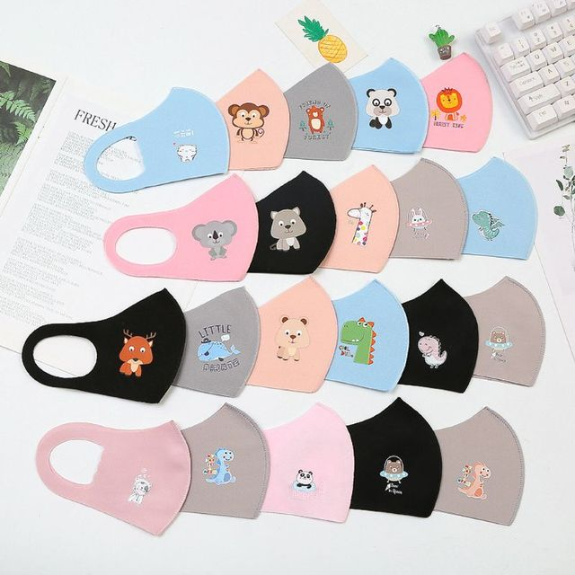 10Pcs Kid Reusable Face Mask Breathable Sponge Dustproof Mouth Mask Random Pattern for Children reusable 3