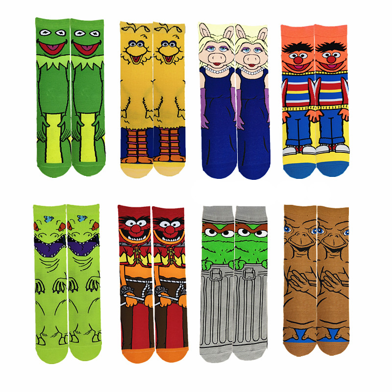 Cartoon Anime Character Mens Socks Funny Casual Street Stance Socks Unisex Harajuku Creative Cotton Warm Crew Socks Anime