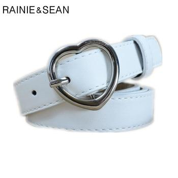цена на RAINIE SEAN Heart Belts For Women White Ladies Waist Belt Pu Leather Pin Buckle Thin Female Belt Red Black Pink Coffee Dark Blue