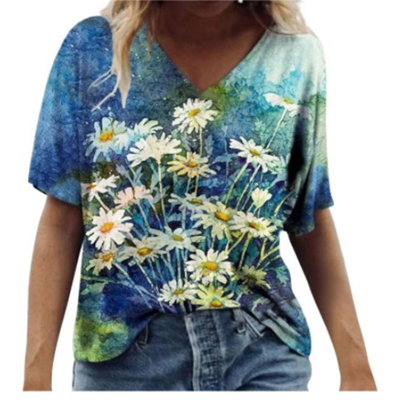 Summer Women V-Neck Shirts Printed Short Sleeves Casual Fashion Tops Plus Size Loose Ladies T-Shirts