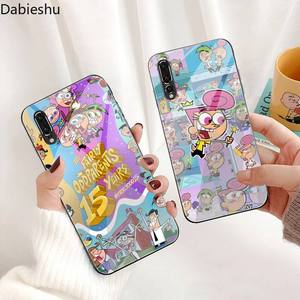 Милый мягкий черный чехол для телефона с героями мультфильмов «довольно оддродители» из закаленного стекла для Huawei P30 P20 P10 lite honor 7A 8X 9 10 mate 20 Pro