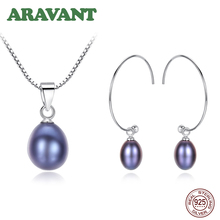 Real Black Freshwater Pearl Jewelry Set For Women 925 Silver Hoop Earring Necklace Set
