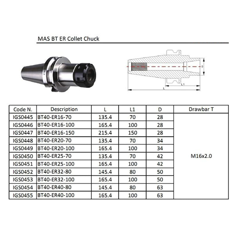Купить с кэшбэком New 1pcs BT40 ER16M 150 Tool holder  Precision  0.005mm  ER16 Collet Chuck Holder CNC Milling