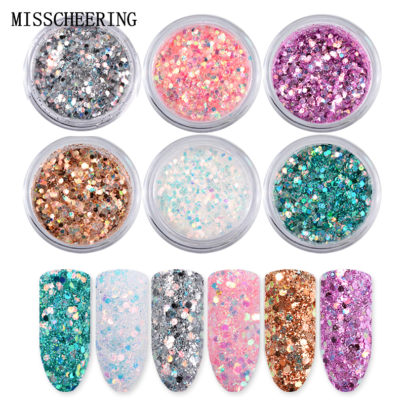 6boxes/set Laser Mixed Nail Glitter Powder Sequins Shinning Colorful Nail Flakes 3d DIY Charm Dust For Nail Art Decorations 1