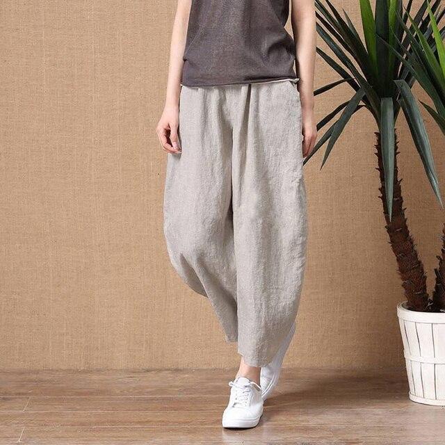 ShiMai Women's Cotton Linen Pants Elastic Waist Vintage Trousers Lady Loose Casual Pants S-2XL Retro Literary Cotton Trousers 2