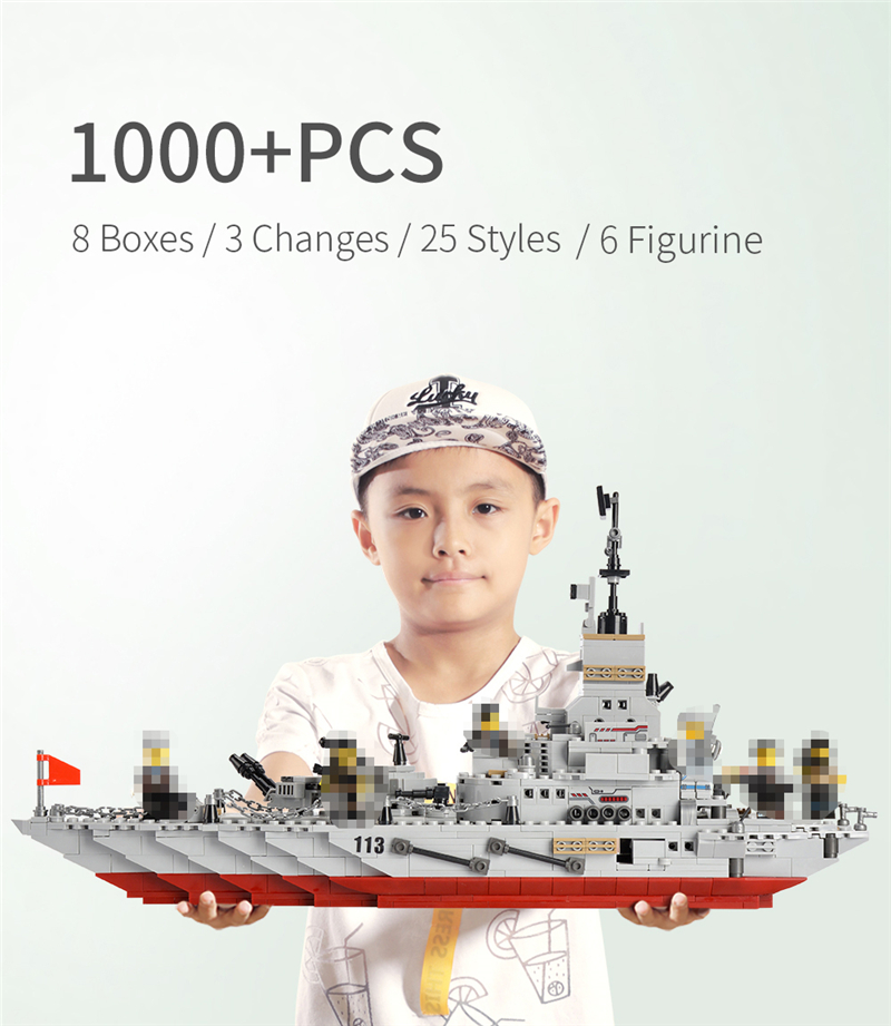 1000+ PCS Military Warship Navy Aircraft Army Figures Building Blocks LegoINGlys Army Warship Construction Bricks Children Toys (1)