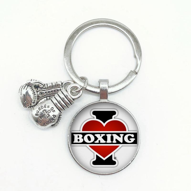חדש אני אוהב אגרוף אנגלית מילת דפוס Keychain אגרוף כפפות באיכות גבוהה תליון Keychain זיכרון בוקסר מתנת תכשיטים