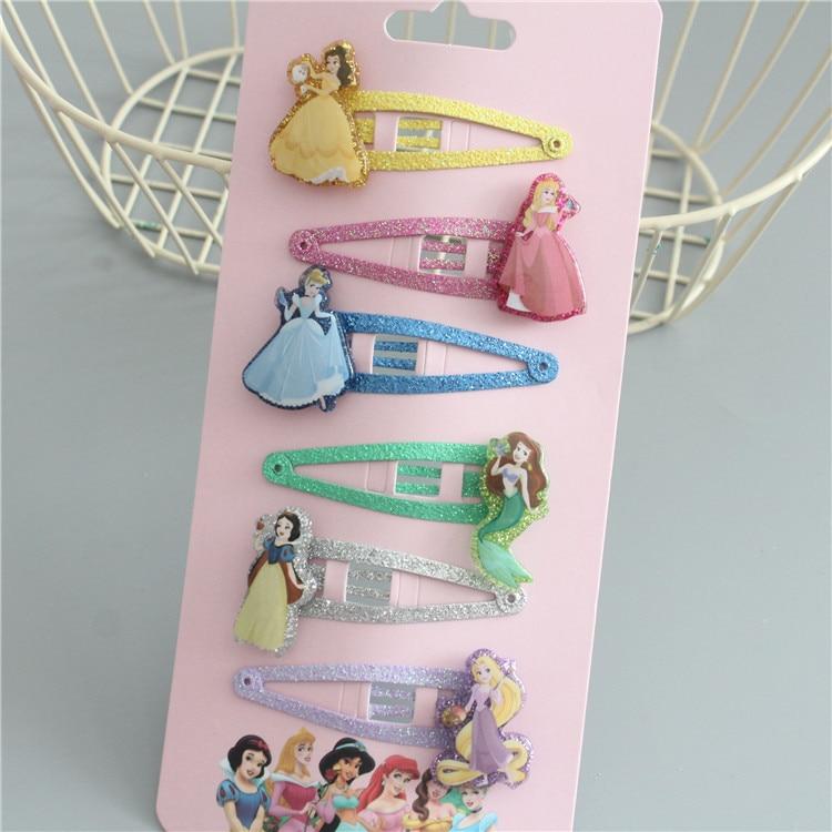 6PCS/Set Disney Kid Hair Pins Princess Head Wear Girl Children Hair Clips Doll Accessories Hair Pin Bow Gift BB Clip 2020 New