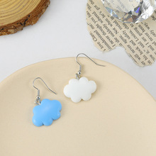 Simple and Lovely Design Blue Sky White Cloud Earrings Long Hollow Geometric Pendant Fashionable Womens Jewelry