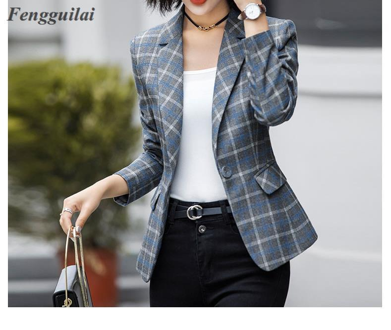 2020 New Arrival Autumn Winter Women Striped Blazers Elegance Fashion Notched Pockets Full Sleeve Single Button Slim Hot