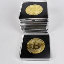 40mm ouro bitcoin moeda com acrílico caso quadrado litecoin eth xrp cryptocurrency metal moeda