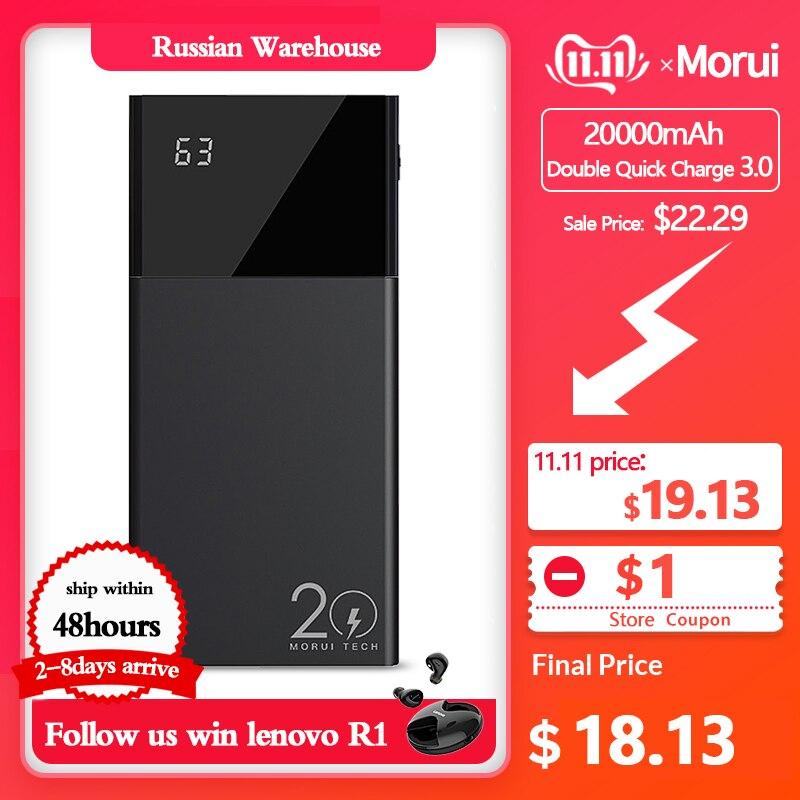 MORUI Powerbank ML20 Pro 20000mAh 18W QC3.0+Type-C3.0 Double Quick Charge Power Bank With Smart Digital Display External Battery