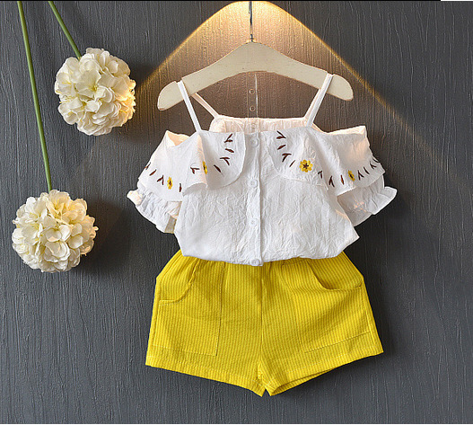 Baby Girls Summer Outfit Sets Off Shoulder Tops with Cotton Shorts Clothing Set