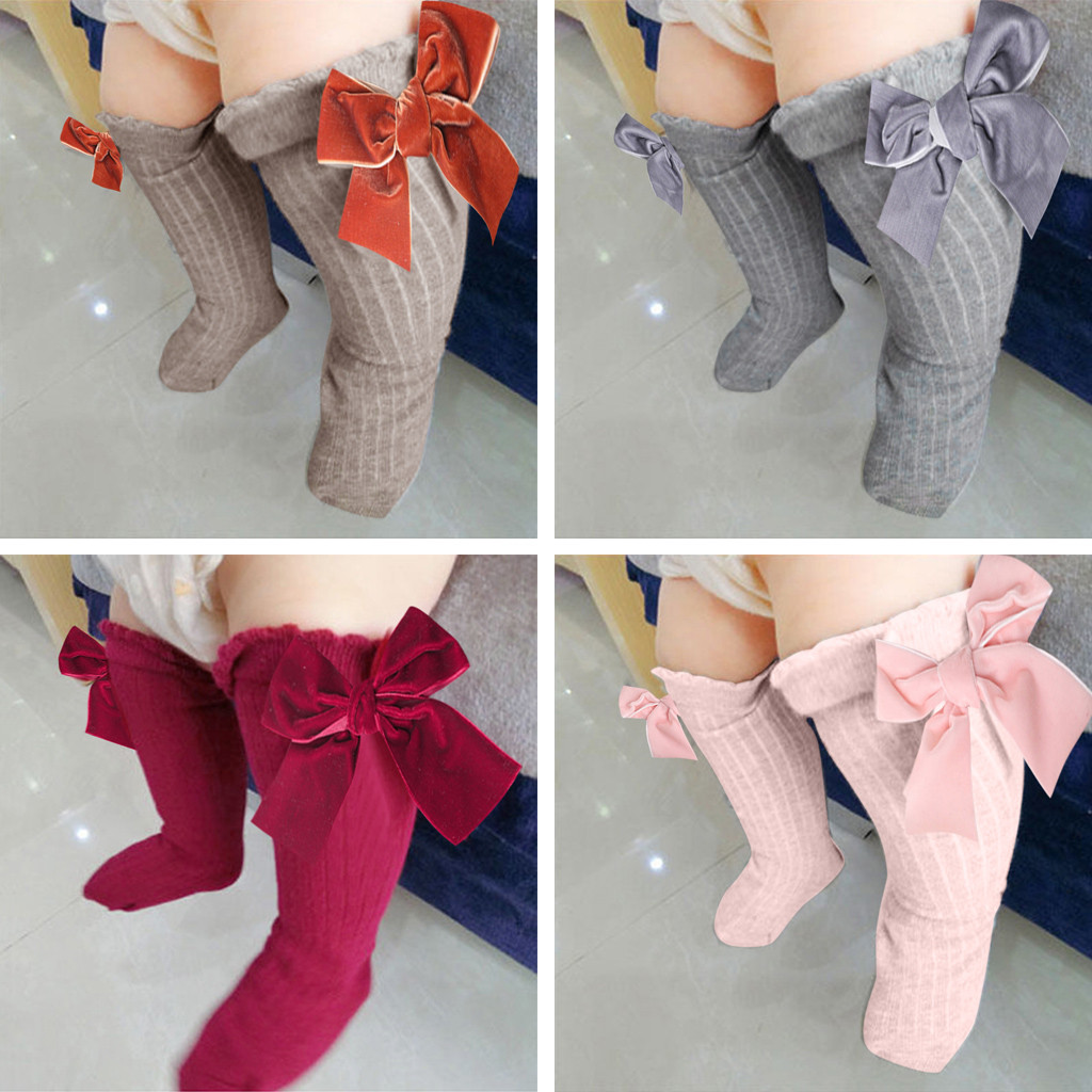 Kids Toddlers Girls Big Bow Knee High Long Soft Cotton Lace Baby Socks Kids New Gray