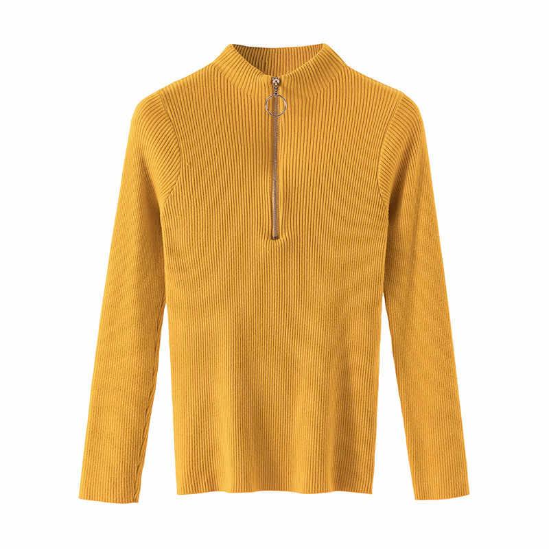 캐주얼 지퍼 스웨터 여성 터틀넥 솔리드 봄 가을 여성 니트 스웨터 풀오버 긴 소매 세련된 소프트 점퍼 탑스