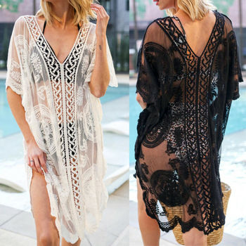 New Sexy Women Lace Crochet Bathing Suit Swimwear Bikini Cover Up Beach Dress 2020 Summer Holiday Hollow Out Pareo Vestidos sexy hollow out crochet lace mini dress