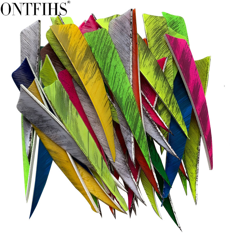 12pcs 4inch Shield Cut Arrow Archery Striped Hunting Feather Arrow Feathers