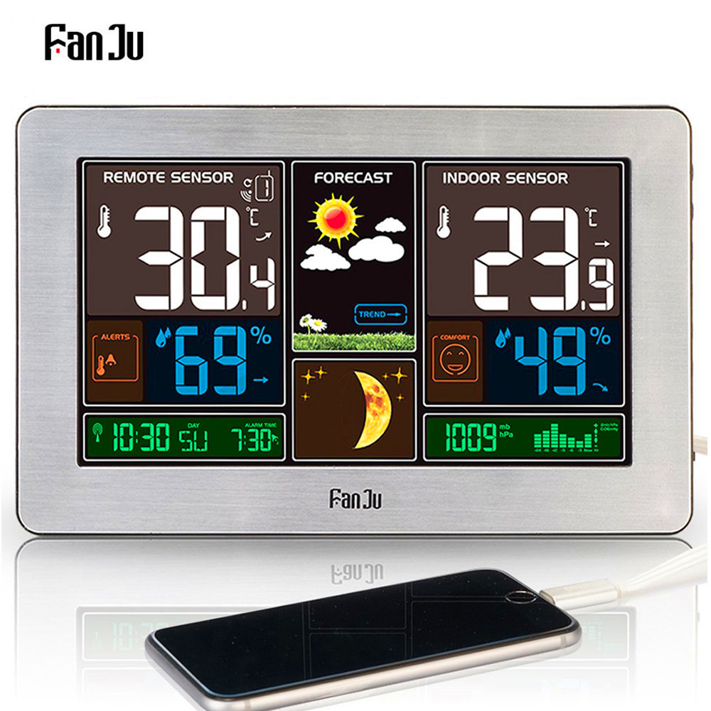 FJ3378 Digital Alarm Clock Weather Station Wall Indoor Outdoor Temperature Humidity Watch Moon Phase Forecast USB Charger