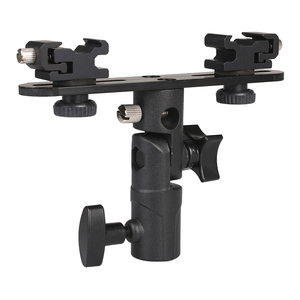 Image 2 - Photo Studio Accessories Flash Bracket Umbrella Holder Light Stand Bracket with 2 Hot Shoe Mount For Flash Speedlight Youngnuo