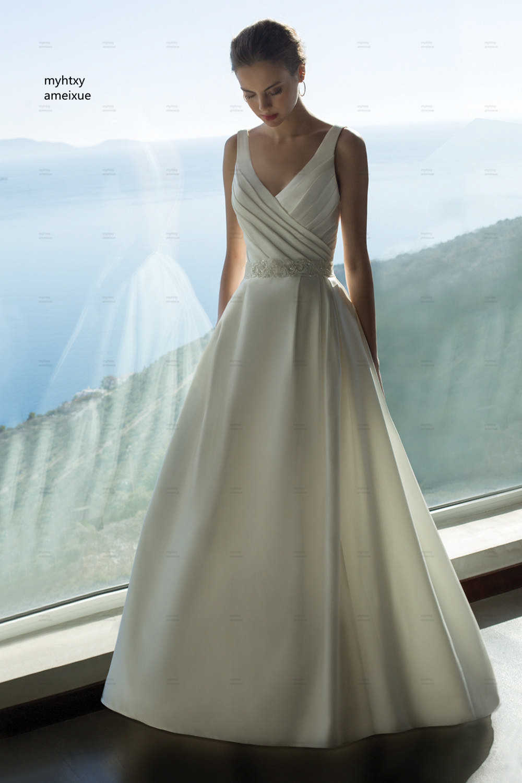 V-neck Sweep Train Floor-length Backless A-line Cap Sleeve Cheap Boho Simple Satin Wedding Dress 2019 Plus Size Crystal Beading