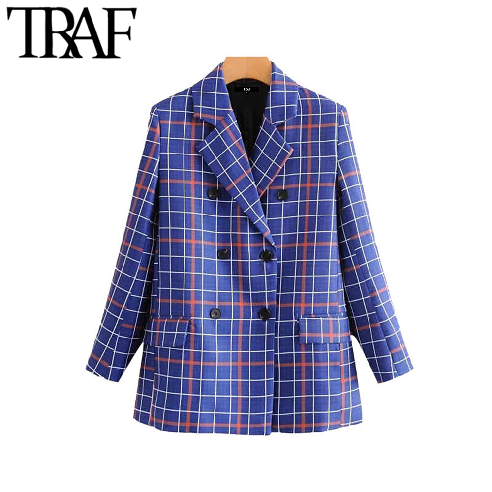 TRAF Women Vintage Stylish Double Breasted Plaid Blazer Coat Fashion Long Sleeve Pockets Office Wear Female Outerwear Chic Tops