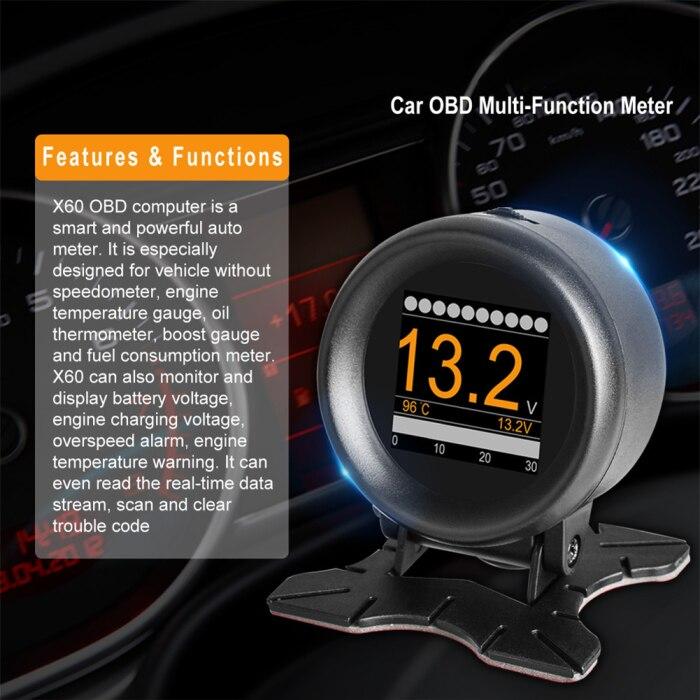 Carro hud velocidade alarme pressão óleo medidor